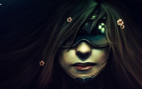 Picture girl, face, glasses, Cyberpunk