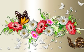Picture flowers, collage, butterfly, bouquet, petals, moth