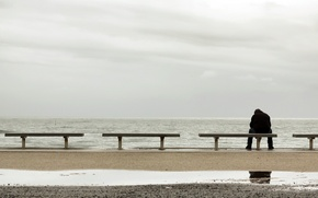 Picture sea, loneliness, mood, people, bench