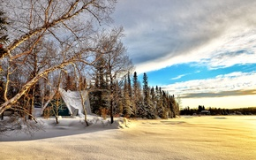 Picture Nature, Clouds, Canada, Winter, Water, Snow, Dawn, Blue sky, North wood, Ice Lake, Cold beautiful …