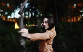 Wallpaper flame, look, fire, bokeh, brunette, girl, mood, arrow, bow