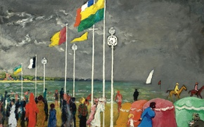 Picture the sky, clouds, people, shore, picture, flag, genre, Kees van Dongen, The clock on the …