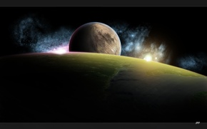 Picture space, stars, planet, planet