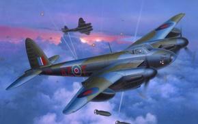 Picture war, art, painting, aviation, ww2, De Havilland Mosquito, britsh heavy fighter/light bomber