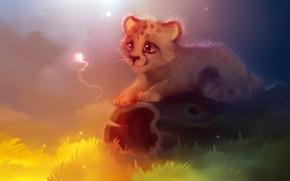 Picture grass, eyes, light, yellow, lilac, magic, Cheetah, green, log, apofiss