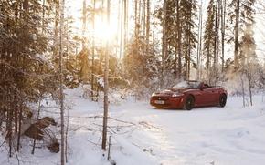 Picture winter, forest, the sun, snow, red, Jaguar, Jaguar, convertible, Convertible, XKR-S