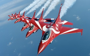 Picture group, flight, Stroy, F-16, Fighting Falcon, flight, Of Singapore air force, The Black Knights