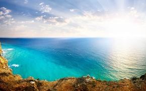 Picture The sky, The sun, Landscape, Nature, Clouds, Rocks, The ocean, Sea