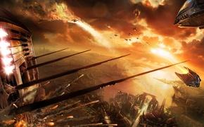 Wallpaper sunset, ships, battle, war of the worlds