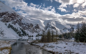 Picture winter, forest, the sky, snow, trees, mountains, nature, river