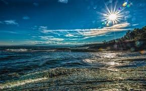 Picture the sun, coast, Norway, Bay, Norway, Hurum, Free, Oslo, The Oslo Fjord