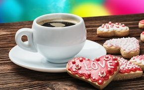Picture love, coffee, cookies, Cup, valentine's day