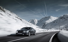 Picture snow, mountains, road, speed, car, machine, sky, clouds, clouds, snow, speed, 2012 Bentley Continental GT ...