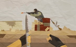Picture weapons, soldiers, geometry, figure, Counter-Strike
