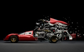 Picture machine, race, mechanism, speed, ferrari, disassembly, fabian oefner