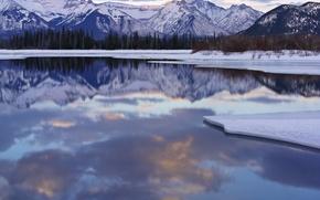 Wallpaper winter, snow, mountains, Lake