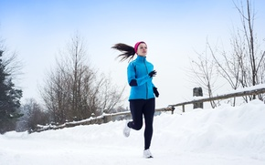 Picture winter, girl, nature, sport, running