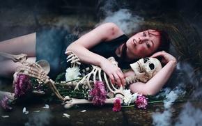 Picture girl, mood, skeleton