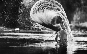 Picture girl, squirt, hair, splash, stroke, in the water