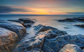 Picture sea, the sky, stones, dawn, shore, horizon