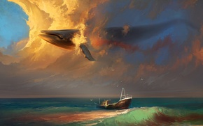 Picture sea, wave, the sky, clouds, birds, surrealism, ship, seagulls, art, kit