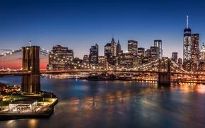 Picture city, lights, USA, night, New York, Manhattan, Brooklyn Bridge, skyscrapers, harbour
