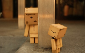 Wallpaper macro, find, box, toy, the game, robot, post, hide and seek, cardboard, robot, danbo, box, ...