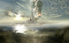 Wallpaper clouds, the explosion, the city, island, ships, haze, spire