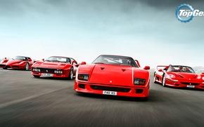 Picture Top Gear, Ferrari, Red, F40, Enzo, Front, Supercars, Track, Italian, F50, 288 GTO
