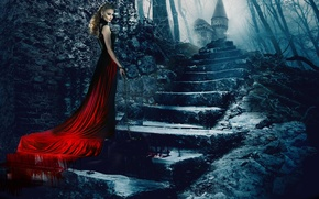 Picture castle, blood, dress, chain, ladder, stage, lady, Svetlana Khodchenkova, Lady of Csejte, Bathory