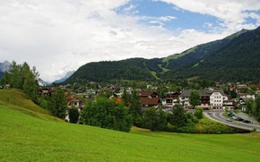 Picture forest, grass, clouds, mountains, home, Austria, slope, Seefeld