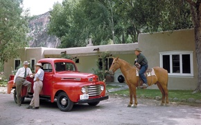 Picture trees, red, house, retro, horse, Ford, Ford, cowboy, pickup, men, F-1, 1948, Pickup