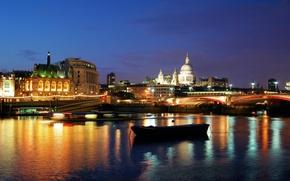 Picture night, bridge, lights, river, London, london