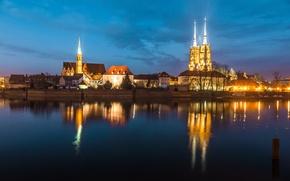 Picture night, river, night lights, building, home, Poland, Ostrów Tumski, Wroclaw