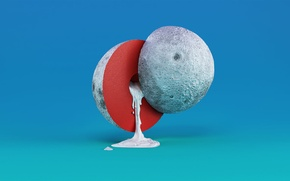 Picture space, background, planet, liquid, The moon, the cut, art