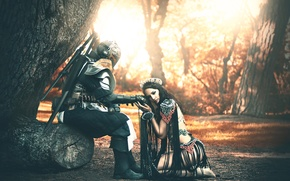 Wallpaper girl, fantasy, knight, Abraham Nobane, Alina Nastase
