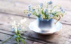 Wallpaper mug, forget-me-nots, lilies of the valley, texture