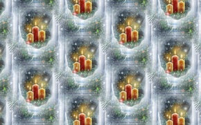Picture winter, background, holiday, texture, candles, window, art, New year