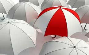 Picture umbrellas, white, striped