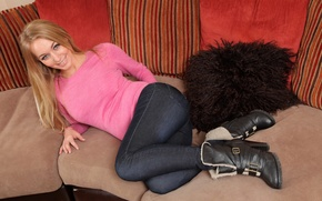 Picture girl, photo, sofa, feet, jeans, boots, blonde, sweater, Hayley Marie Coppin