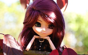Wallpaper toy, cherry, lies, doll, hair