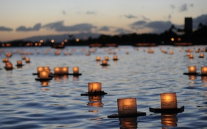 Wallpaper memory, river, candles