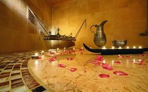 Picture candles, petals, Spa, tray, kushina