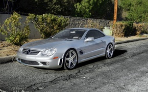 Picture silver, silver, Mercedes, wheels, Mercedes, SL65, Benz, frontside, metellik