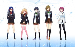 Wallpaper freedom, reflection, girls, anime, art, form, Schoolgirls, hakusai, ryugazaki rei, matsuoka rin, hazuki nagisa, free!, ...