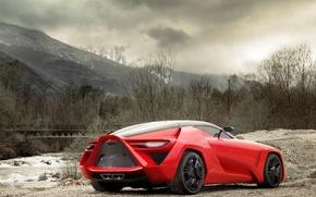 Picture auto, landscape, red