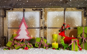 Picture winter, snow, decoration, holiday, balls, tree, candles, window, New year, Happy New Year, balls, box, ...