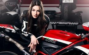 Wallpaper Girl, Red, Ducati, Beauty, Face, Lips, Hair, Motocycle, Nice, Ligth, Katharina