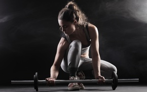 Picture woman, pose, fitness, barbell weights