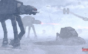 Picture star wars, imperial, battle, hoth, at-st, tie-fighter, hibikirus, at-at